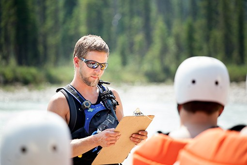 Safety briefing before rafting Kicking Horse River in Golden BC