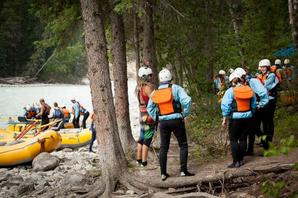 Raft guide and guests taking before rafting the Kicking Horse River