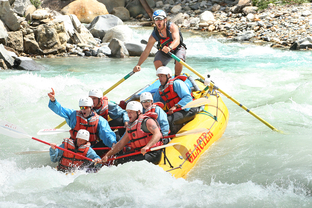 Rafting in August on the Kicking Horse River.