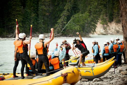 Getting a photo taken before white water rafting the Kicking Horse River