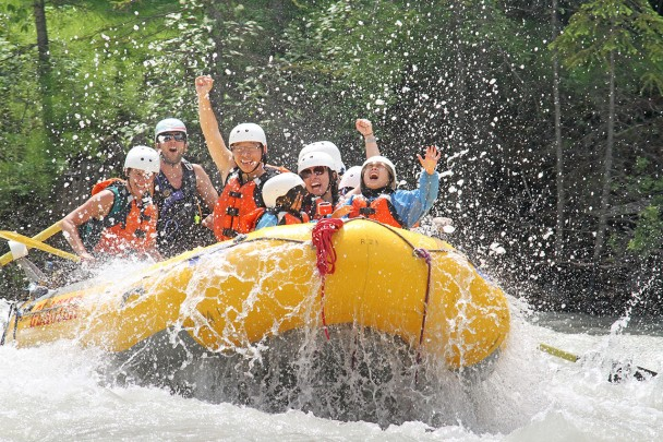 Kids laughing while rafting the Kicking Horse River