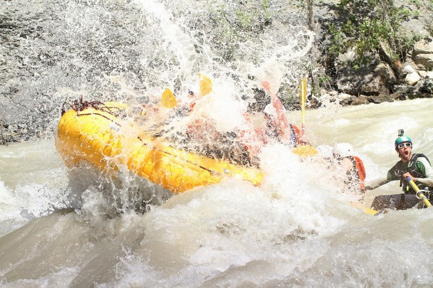 A stag party rafting in Golden BC