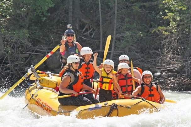 Kids and parents rafting in BC.