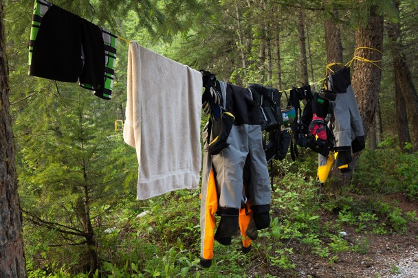 Drying raft gear after a fun day of white water rafting