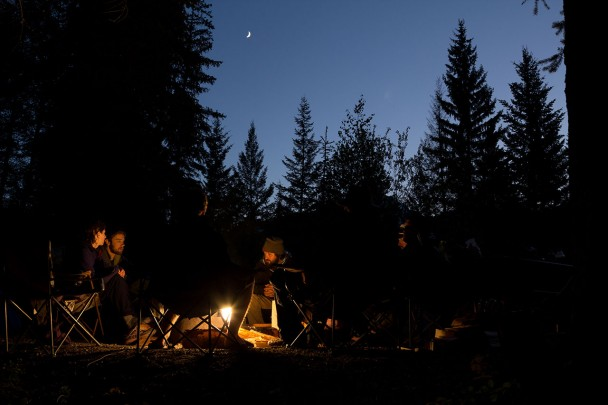 A beautiful moon and campfire on the White River two day raft trip