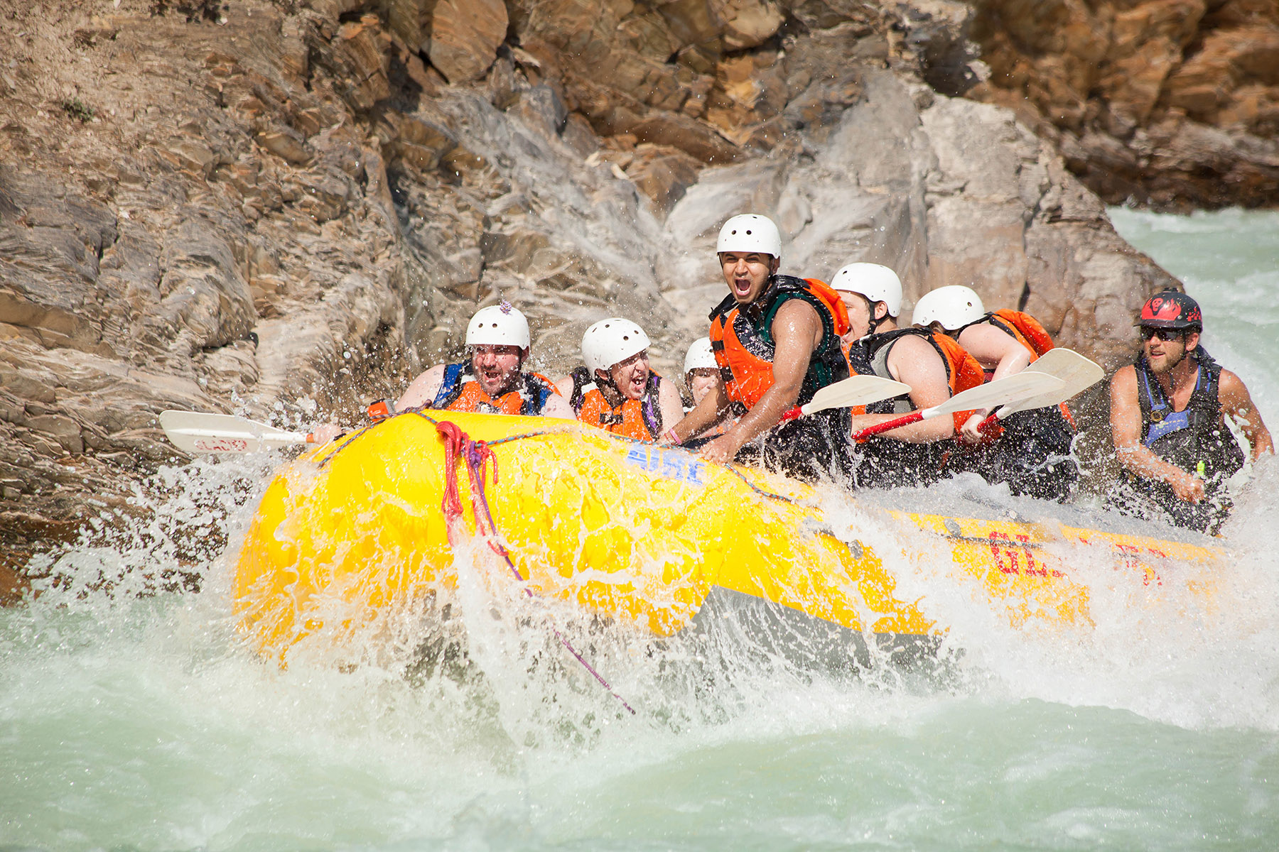 A raft in Shotgun in the middle canyon