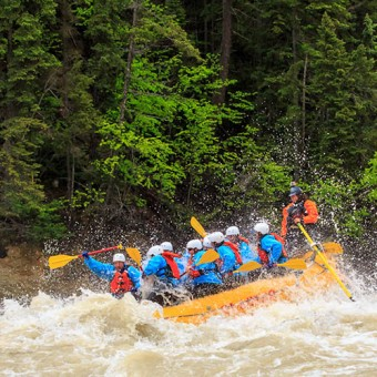 Rafting during high water on the Kicking Horse River in Golden BC