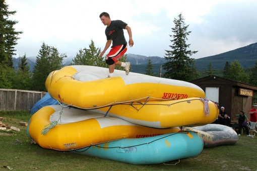 Competing in the annual Raft Guide Olympics