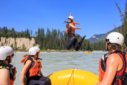 Having fun on the Kicking Horse River with Glacier Raft Company