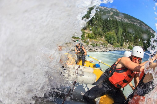 Crisp, glacial fed waves during a Kicking Horse River rafting trip in Golden BC
