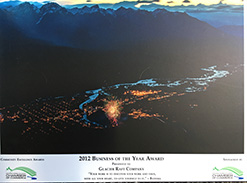 Business of the Year Award for Glacier Raft Company in Golden BC