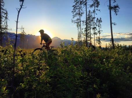 Mountain Biking in Golden British Columbia at sunset