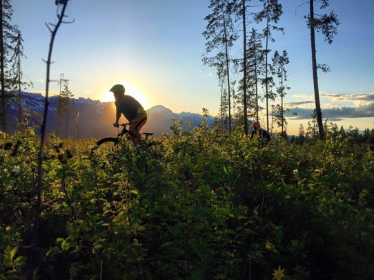 Mountain Biking in Golden British Columbia at sunset