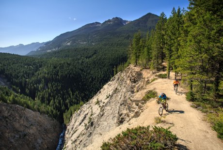 Biking along Canyon Creek in Golden, B.C.