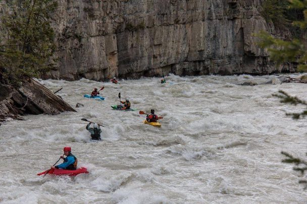 Kayaking the lower canyon of Kicking Horse River