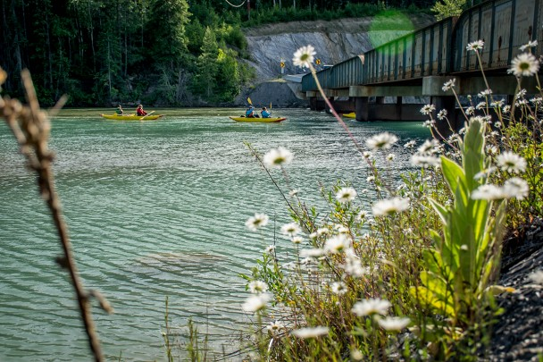 Kayaking on the Columbia River in Golden BC