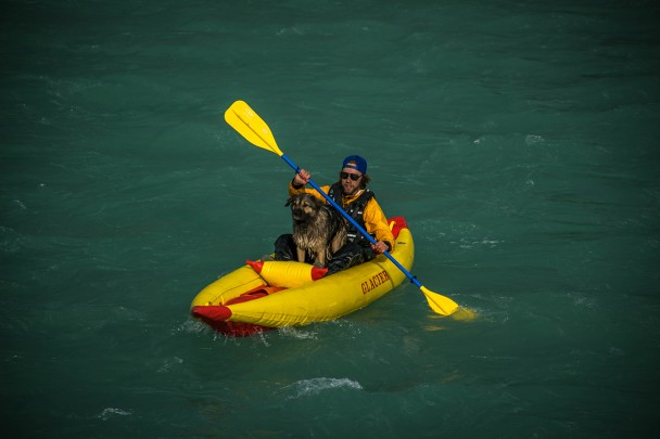 Paddling with a dog in Golden B.C.