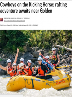 Story in Calgary Herald on rafting in Golden BC with Glacier Raft Company