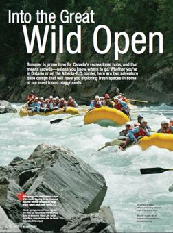 WestJet Magazine featuring Glacier Raft Company in Golden BC