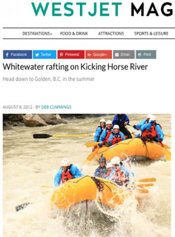 Whitewater Rafting with Glacier Raft Company in Golden BC in WestJet Magazine