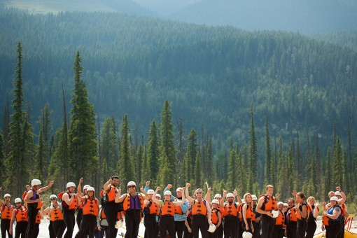 Many guests of Glacier Raft Company giving a thumbs up