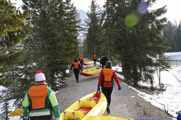 Winter kayaking on the Kicking Horse River