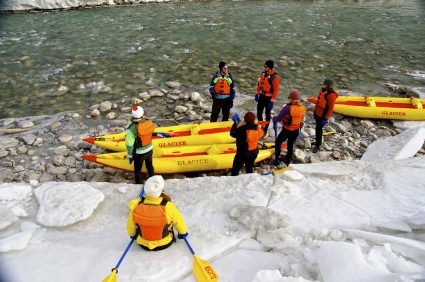 Waiting riverside to start kayaking on the Kicking Horse