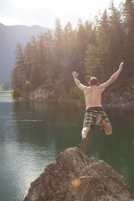 Jumping into the White River!