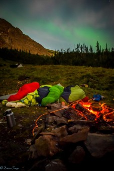 The Glacier crew sleeping under the stars (and Northern Lights!) out at Gorman Lake.