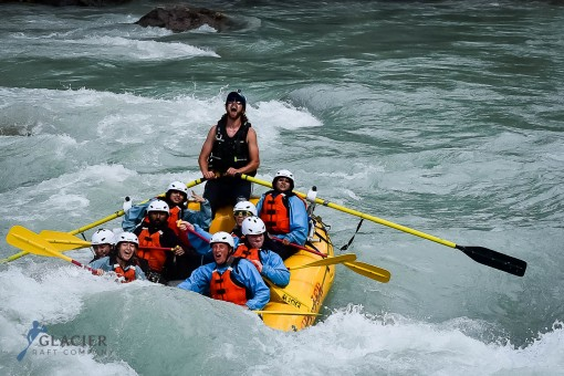 Heading through some rapids on the Kicking Horse River is always a highlight of the day.
