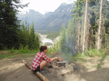 The stunning view of Wapta Falls from the campsite, located a few kilometers down Beaverfoot Road.