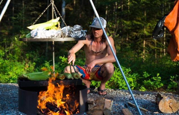 Preparing dinner on a multi day raft trip