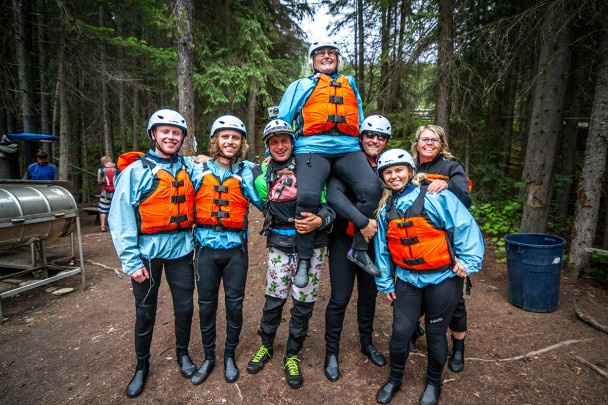 Ready to raft the Kicking Horse River with Glacier Raft Company