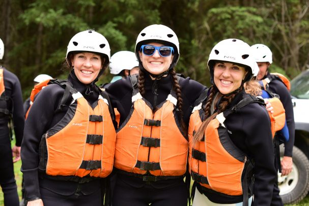 Girls day of rafting on the Kicking Horse River in Golden BC
