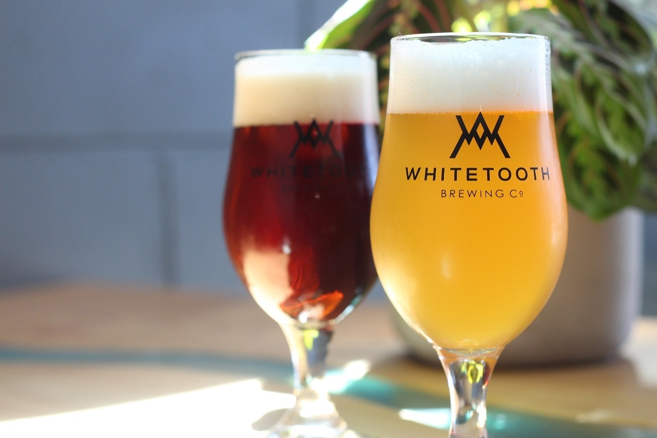 Enjoying beers from the Whitetooth Brewing Co in Golden BC