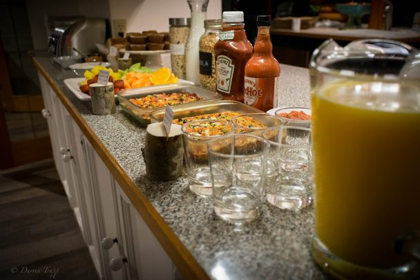 Hot breakfast buffet at Whitewater Lodge B&B