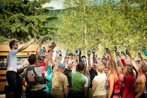 Cheers to a day of rafting on the Kicking Horse River