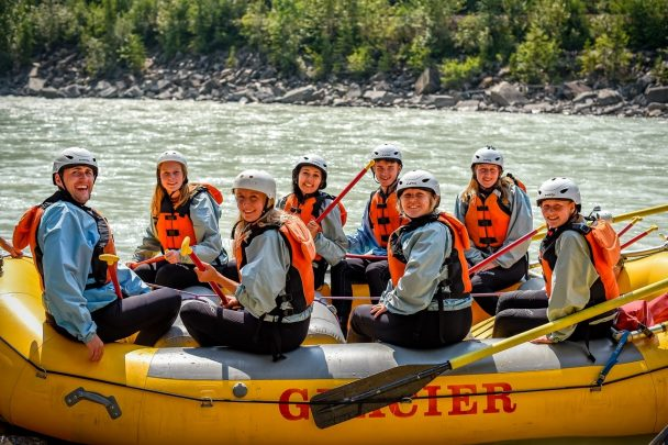 Group ready to enjoy a full day rafting trip in Golden BC