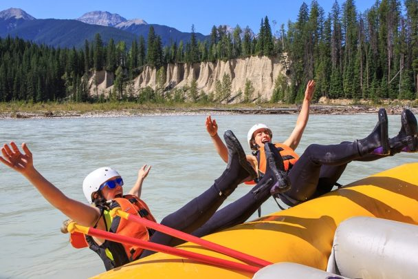 Swimming in the Kicking Horse River with Glacier Raft Company