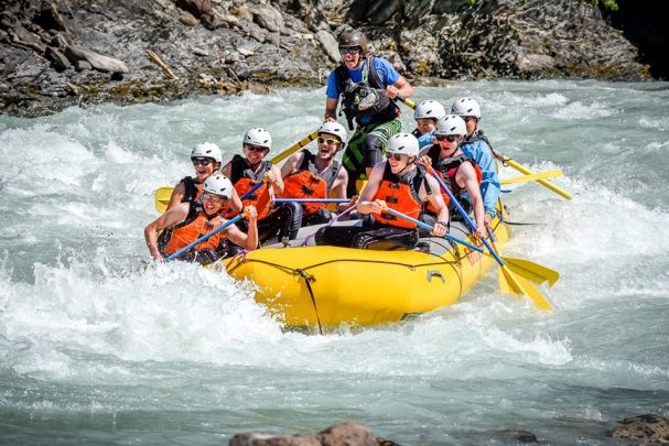 Raft guide Alex Mahoney on the Kicking Horse River
