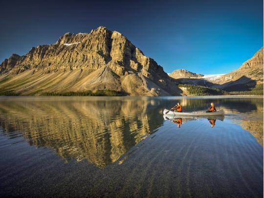 Canoeing on Bow Lake in Alberta