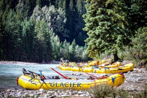rafts parked at shore of Kicking Horse River