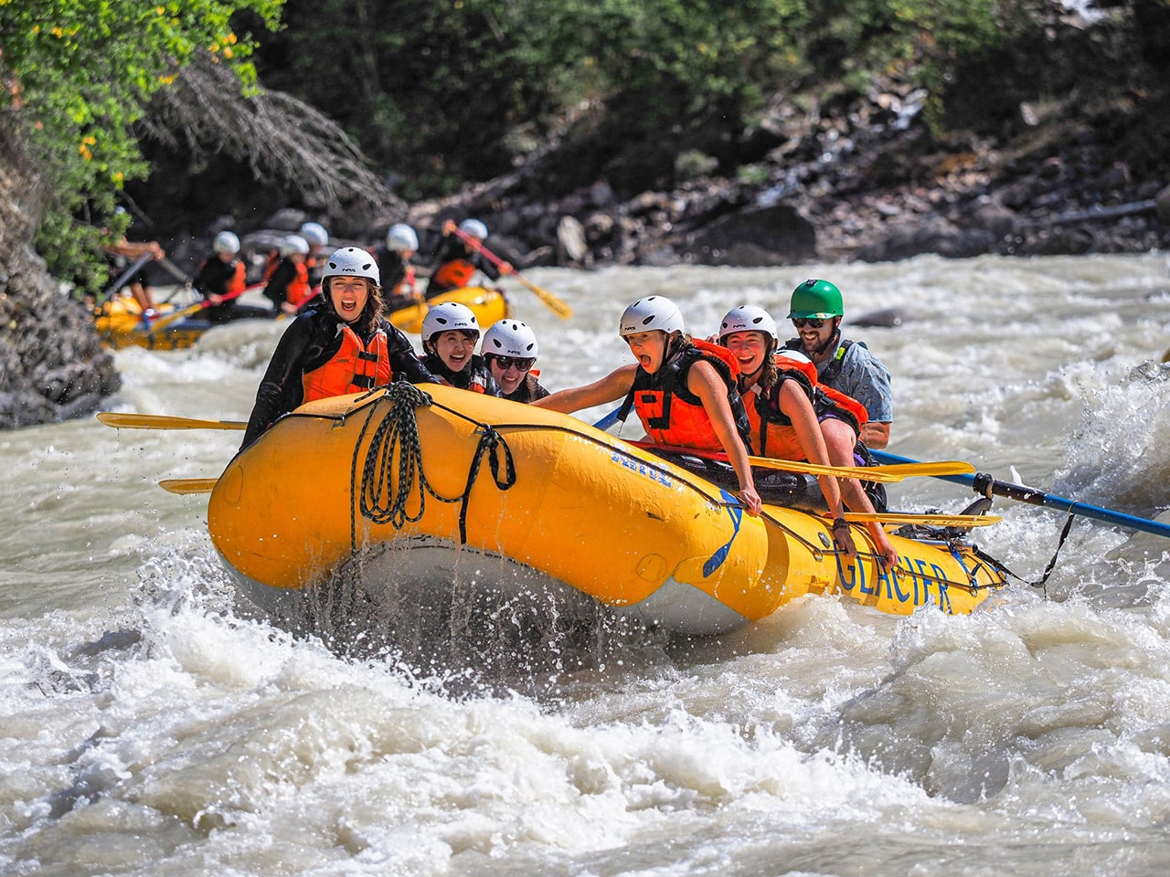Summer rafting Kicking Horse River in Golden BC