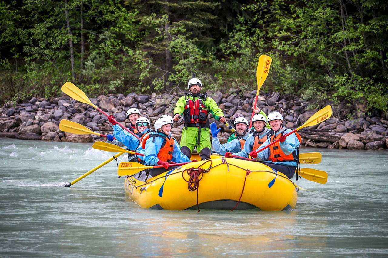 Family rafting trip in Golden B.C. Canada