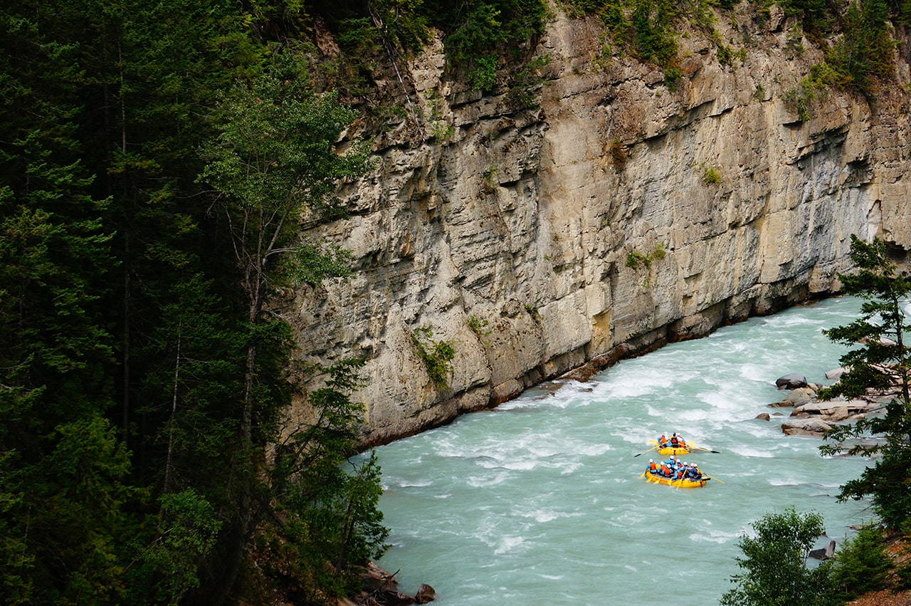 Rafts entering Lower Canyon of Kicking Horse River in Golden BC