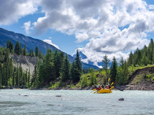 Gentle scenic family rafting Kicking Horse River Golden BC