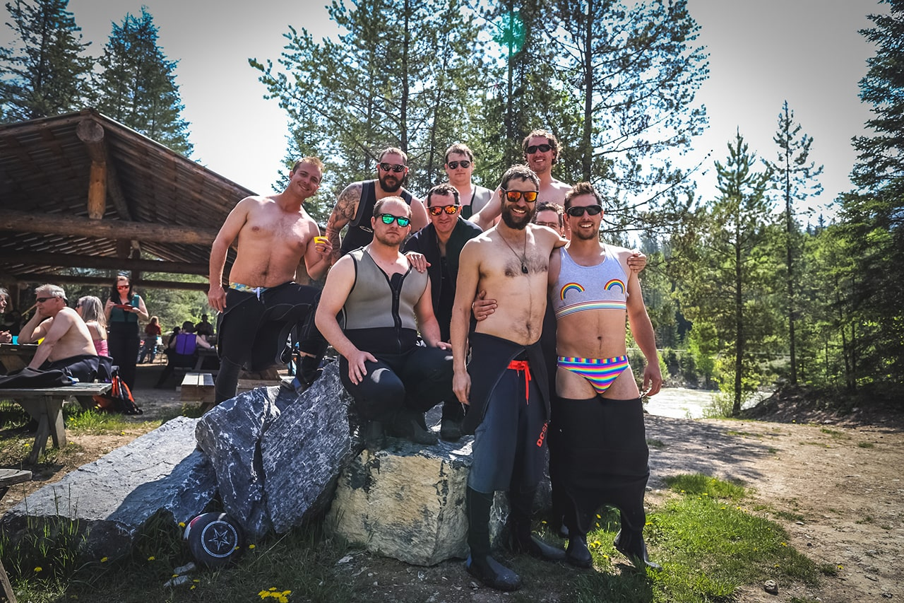 Stag group rafting party in Golden British Columbia