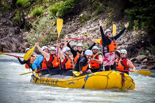 Stag party rafting Kicking Horse River in Golden BC