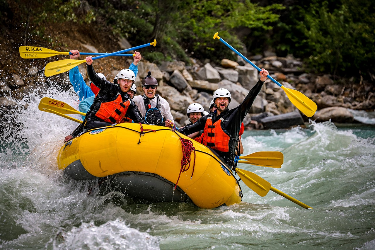 Stag group heli rafting Kicking Horse River in Golden BC
