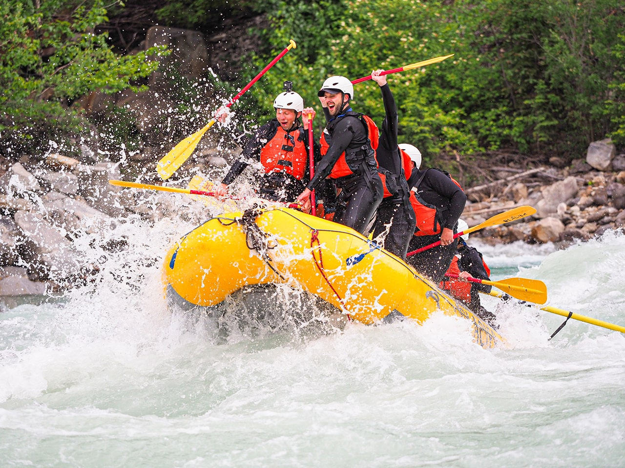 Stag group river rafting in Golden BC on Kicking Horse